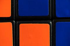 Rubik's cube macro (f8shutterbug) Tags: idb macromondays orangeandblue macro complimentarycolours squares toys puzzle