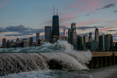 Chicago Skyline Lake Michigan Waves (Joshua Mellin) Tags: chicago skyline lake michigan lakemichigan waves 2017 sunset clouds pink blue sky purple nature city cityscape bricks shore shoreline wavescrashing searstower johnhancock johnhancockcenter trumptower trumptowerchicago aon dusk magic hour best joshuamellin science risingwaters globalwarming april spring weather wx chicagoist crashing lights skies surf seasons easter perfect splash splashing wet cold night evening chitown secondcity travel flights iconic