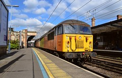 Enroute to Neasden, 56078 & 56087 pass through Ipswich Station, after taking fuel, on the Freightliner Fuel Line. 19 04 2017 (pnb511) Tags: diesel grid trains railway ipswich greateasternmainline geml colas rail freight class56 loco locomotive