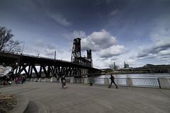 Steel Bridge Portland Oregon (Kayaker Bill) Tags: portlandoregon spring2017 downtown sonya7r rokinon15mm28lens cherryblossoms bridges people pacificnorthwest oregon willametteriver