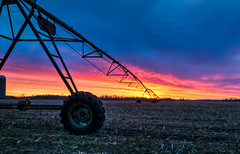 Early to Rise (tquist24) Tags: goshen hdr indiana nikon nikond5300 clouds farm field geotagged irrigation morning orange rural silhouette sky sunrise wheel unitedstates