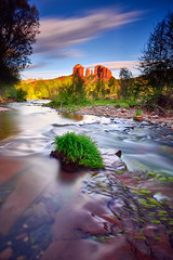A Long Silence (David Shield Photography) Tags: redrockcrossing oakcreek sedona southwest arizona longexposure landscape water sunset cathedralrock sky trees color light nikon