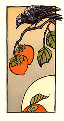 Japanese persimmon and crow (Japanese Flower and Bird Art) Tags: flower persimmon diospyros kaki ebenaceae bird crow corvus corvidae yoshiko yamamoto modern woodblock print japan japanese art readercollection