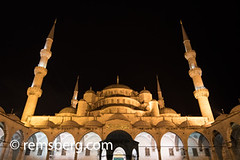 The courtyard of the Sultan Ahmed Mosque, or Blue Mosque, located in Istanbul, Turkey. (Remsberg Photos) Tags: mosque turkey istanbul structure architecture elaborate courtyard stone walkway night light column archway space arcade