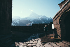 Kazbegi. One and only photo (Paulina Wierzgacz) Tags: walk wanderlust wild wind way explore europe experience road roadtrip reportage girl glacier georgia mountains microadventure magic adventure asia fun friends journey nature caucasus kaukaz travel traveller trip travelling tourist trial trekking trek town view valley village sun discover documentary hills landscape