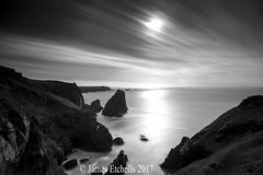 Day Passing (James Etchells) Tags: kyance cove national trust cornwall kernow black white monochrome light dark seascapes seascape long exposure exposures lee filters nikon motion movement sea ocean water waves coastal coast shadows photography sky clouds outdoors outdoor lizard peninsula south west
