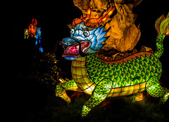 Dragons den (LynxDaemon) Tags: latern chinese botanicalgarden montreal colors light reflection water dragon den rock fire green cavern lantern