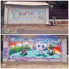 Met a doctor, she had a wall, so while she's drilling on mouths I was washing some walls. #keepyourteethclean #doctorgigi #nomadlife #Jakarta shout out & thanks to #garduhouse for the support. #pyloxbasics #aerosolart (Andruu's that psykoo babbler) Tags: square mural teeth scenic jakarta squareformat dentist aerosolart doctorgigi iphoneography instagramapp uploaded:by=instagram pyloxbasics