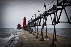 Grand Haven Lighthouse (Hannah E. Healey) Tags: red lighthouse lake haven fall pier michigan grand vingette 2014