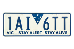 Victoria (VIC) Number Plate (Kokkai Ng) Tags: blue white state australian plate australia victoria number license vic alive registration alert stay