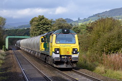70006 approaches Bamford with the 6E08 Earles Sidings to Westburton p.s. 9th Oct 2014. (Dave Wragg) Tags: railway loco locomotive freightliner bamford 70006 class70 hopevalleyline 6e08