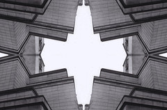 Nottingham Conference Building Montage (Wesley John Norman Morgan) Tags: nottingham blackandwhite abstract architecture symmetry 35mmfilm montage filmcamera canona1 filmphotography