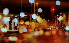 130.365 - 17.10.14 (oana-emilia) Tags: nightphotography light night lights october traffic bokeh doubleexposure budapest transport tram trams 365project shuttersisters womenwhophotography shuttersister romaniangirlphotographers