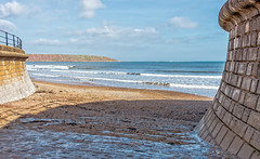 To the beach..... (jack cousin) Tags: sea sky cliff seascape beach clouds sand nikon waves stonework yorkshire bricks pebbles breakers cobbles headland filey d610 raililngs
