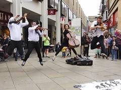 Everybody Jump! (sasastro) Tags: street costumes jumping buskers stringquartet pentaxk5iis cambridgebuskerandstreetperformerfestival