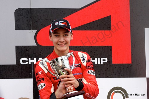 George Russell receives his trophy as BRDC F4 Champion 2014