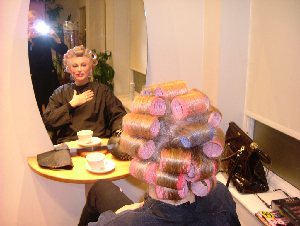 Transsexual woman, hair in curlers