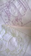 Tecido bordado avulso (Artices da Zappa - Artesanatos feitos com Amor.) Tags: ponto almofada tecido bordado bonequinha atrs unicolor avulso