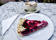 Berlin, indulgence (Blinkofanaye) Tags: berlin coffee cake germany pie table restaurant cafe outdoor einstein espresso marble capucino