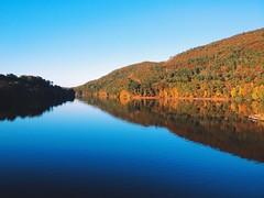 Brattleboro, VT (mlee525) Tags: travel autumn reflection fall river mirror vermont newhampshire foliage brattleboro connecticutriver iphone wantastiquet wantastiquetmountainnaturalarea vscocam whetstonestation