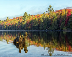 Ricker Pond Fall Reflections (Jericho Hills Photography) Tags: morning autumn trees color reflection fall nature forest sunrise outdoors colorful vermont country lakes newengland calm fallfoliage foliage shore stump mysterious serene wilderness ponds picturesque tranquil isolated vt groton naturephotography ruralscenes rickerpond rickermills grotonstateforest sceniclandscapes scenicvermont newenglandphotography johnvose jerichohillsphotography vermontscenics