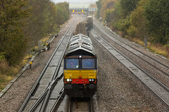 On loan to GBRf DRS Class 66/4 no 66427 at Tupton on 07-11-2014 with a Doncaster to Toton Engineers train (kevaruka) Tags: uk greatbritain november autumn england rain train canon flickr rainyday unitedkingdom derbyshire shed trains 5d frontpage britishrail freighttrain 2014 class66 drs networkrail railfreight gbrf 66427 tupton canon5dmk3 5dmk3 5d3 5diii canon70200f28ismk2 canoneos5dmk3 tuptonbridge ilobsterit