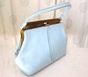 60s Pastel Blue Purse Vintage Vegan Handbag (JoulesVintage) Tags: party vintage handbag madmen woodenframe framebag vintagepurse pastelblue joulesvintage
