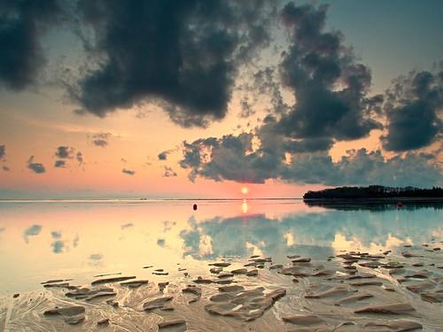 Bali, Indonesia, Nusa Dua Beach from Westin Hotel, Sunrise. 23 oct 2014