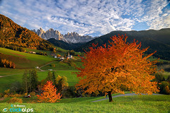 The Symbol of South Tyrol (ilya.emelyanov) Tags: santa autumn trees italy mountain church colors south val maddalena di magdalena tyrol dolomites dolomiti funes odle 500px ifttt sysaworld clickalps