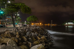 Entrada para o Porto (BRUREZ) Tags: street sea brazil brasil night port bay harbor pier mar stones porto santos noite rua channel forte rochas brasilemimagens