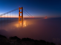 Night Moves (mikeSF_) Tags: sanfrancisco california bridge blue fog night landscape photography twilight long exposure cityscape pentax marin hour goldengate headlands nautical transamerica sausalito batteryspencer bofa ggnra ggb a35 hawkhill conzelman 645d mikeoria