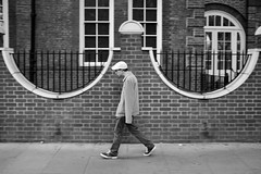 London, July 2015(2) (S.R.Murphy) Tags: blackandwhite man london monochrome hat walking mono streetphotography cap euston socialdocumentary whiteandblack july2015 fujix100t