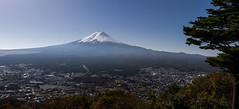 Mount Fuji on a clear day (dtra) Tags: fuji japan kawaguchiko mountkachikachi mounttenjo mountain panorama ropeway sky tree volcano