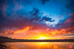 Fire in the sky (Kasia Sokulska (KasiaBasic)) Tags: canada alberta prairies spring sunset sky clouds reflections landscape