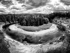 Big Bend (craig_schenk) Tags: landscape landscapes canadian arrow head river bigbend bigeastriver huntsville ontario canada blackwhite bw black white fine art fineart pano panoramic panoramiclandscape clouds cloudy drama dramatic circle curve curvelines trees forrest wide wideangle breathtakinglandscapes bestlandscapes water waters riverwater flowingriver squarecomposition red reflection arrowheadprovincialpark nikon nikond300 d300