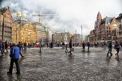 De Dam in Amsterdam vanuit het Paleis gezien
