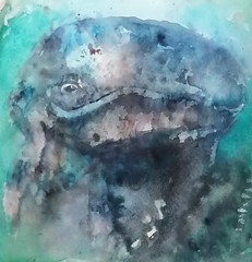 Greywhale (sushipulla) Tags: whale whales greywhale sea seascape nature painting paint artwork art watercolours watercolors