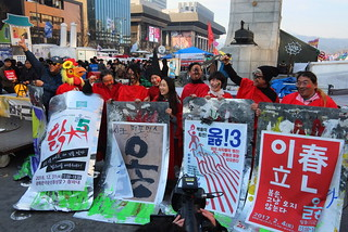Seoul Korea Kwanghwamun candle rally March 11 2017 celebrating the former president's removal -
