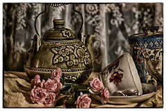 tea time... (elle Q1) Tags: still life teapot cup saucer tea canister flowers close up topaz filters applied post processing digital photo manipulation art nikon llester images