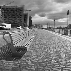North Wall Quay~HFF~HBM (Wendy:) Tags: dublin liffey river railing fence northwallquay bench seat mono centralbankofireland hff odc hbm