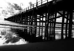 ..reflect to me how you feel.. (dawn.tranter) Tags: dawntranter monochrome blackwhite ocean jetty coffsharbour beach jettybeach sunrise clouds