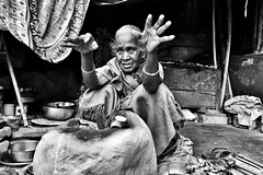 Kolkata, India (paola ambrosecchia) Tags: blackandwhite monochrome light street portrait dark magic woman face india kolkata biancoenero bnw asia people retrato beautiful amazing