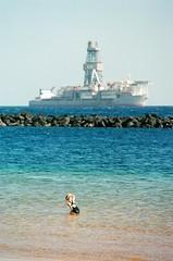 Pissing girl. Tenerife 17 (arsenterzyan) Tags: tenerife canary islands travel 35mm analog canon eos5 ocean film ishootfilm filmisnotdead beach ship