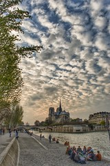 A nice day comes to an end (alcowp) Tags: monument sky cathedral clouds quay river notredame seine paris france