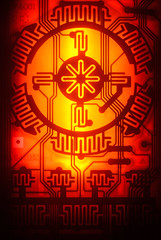 Circuit Board From A T.V. Remote Control. (1selecta) Tags: curcuitboard red orange yellow black lined line circle round electric modern engineering futuristic lilac