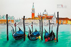 Gondolas in Venice lagoon, Italia (shadowbilgisayar) Tags: gondolas venezia venice lagoon laguna italia italy saintmark sangiorgiomaggiore island canale sea church boat piazzasanmarco venetia moored travel quay venetian docked city tourism venise europe canal italian view cityscape european landscape landmark beautiful journey colorful architecture outdoors urban picturesque illustration sketch sketching marker paper sketchbook travelbook graphics drawing graphicarts belarus