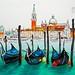 Gondolas in Venice lagoon, Italia