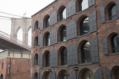 Dumbo (chantsign) Tags: brooklynbridge warehouse windows overcast faded shutters flag brooklyn dumbo brick