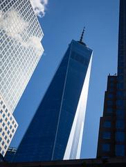 Freedom Tower. Manhattan (Vibrimage) Tags: skyscrapers glass usa lowermanhatten freedomtower reflections architecture manhatten worldtradecentre summer newyork 1wtc oneworldtradecentre geometrical angular