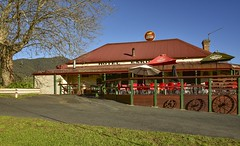 Eskdale Hotel (phunnyfotos) Tags: phunnyfotos australia victoria vic northeastvictoria eskdale hotel pub deck balcony countrytown rural nikon d750 nikond750 building architecture heritage 1896 wagonwheels outdoordining carltondraught highcountry